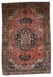 Handmade vintage Persian Tabriz rug 4.4' x 7.2' ( 135cm