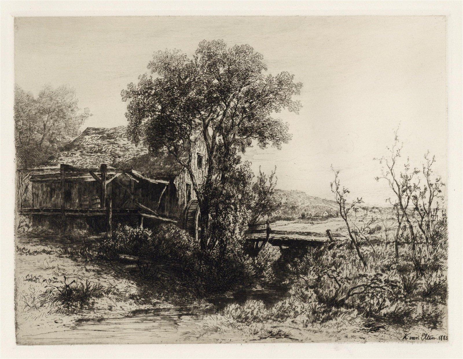 "Kruseman Van Elten original etching ""The Deserted Mill"""