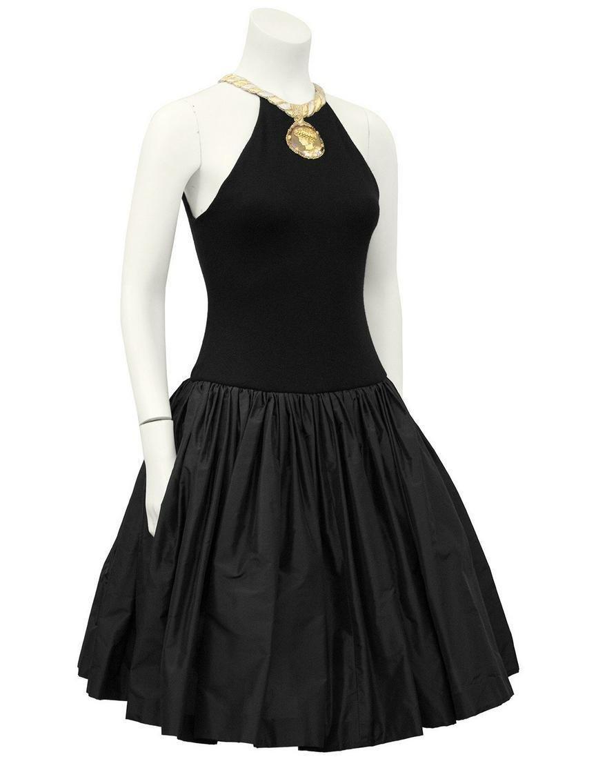 Carolyne Roehm Black Cocktail Dress with Gold Roman
