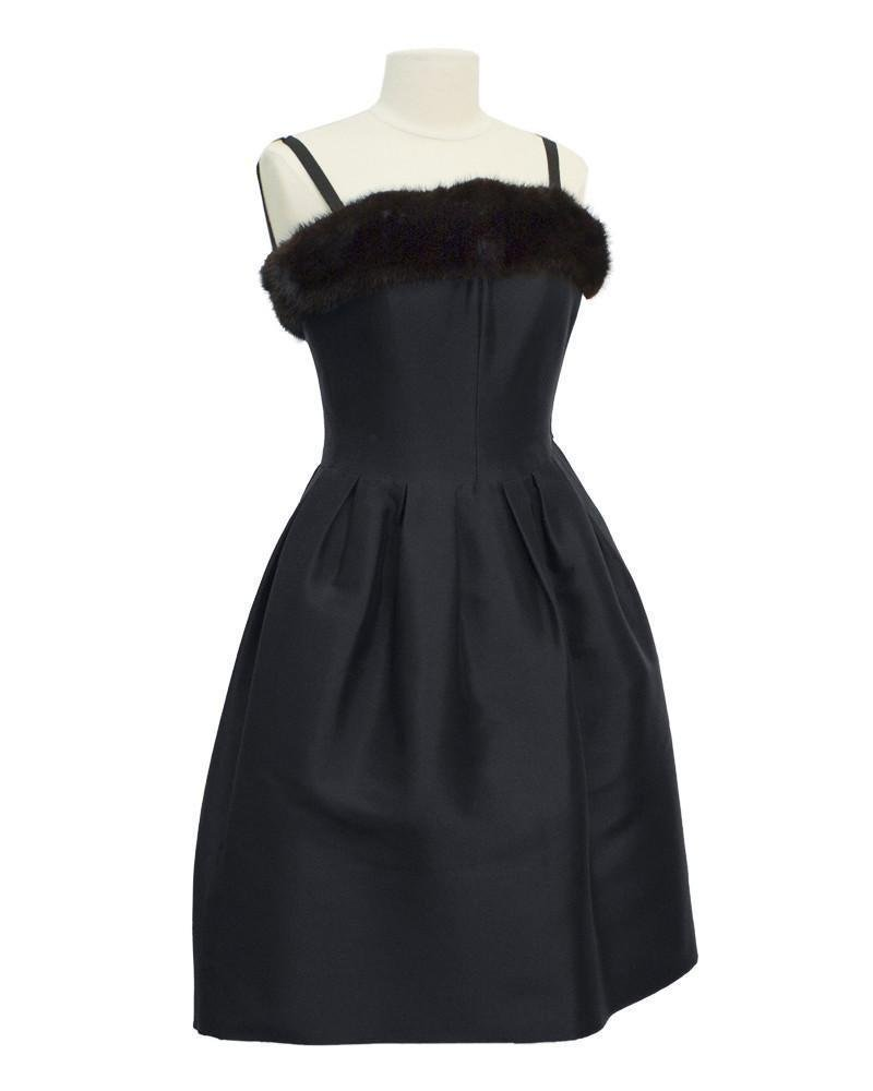 Nina Ricci Black Couture Dress with Mink Trim