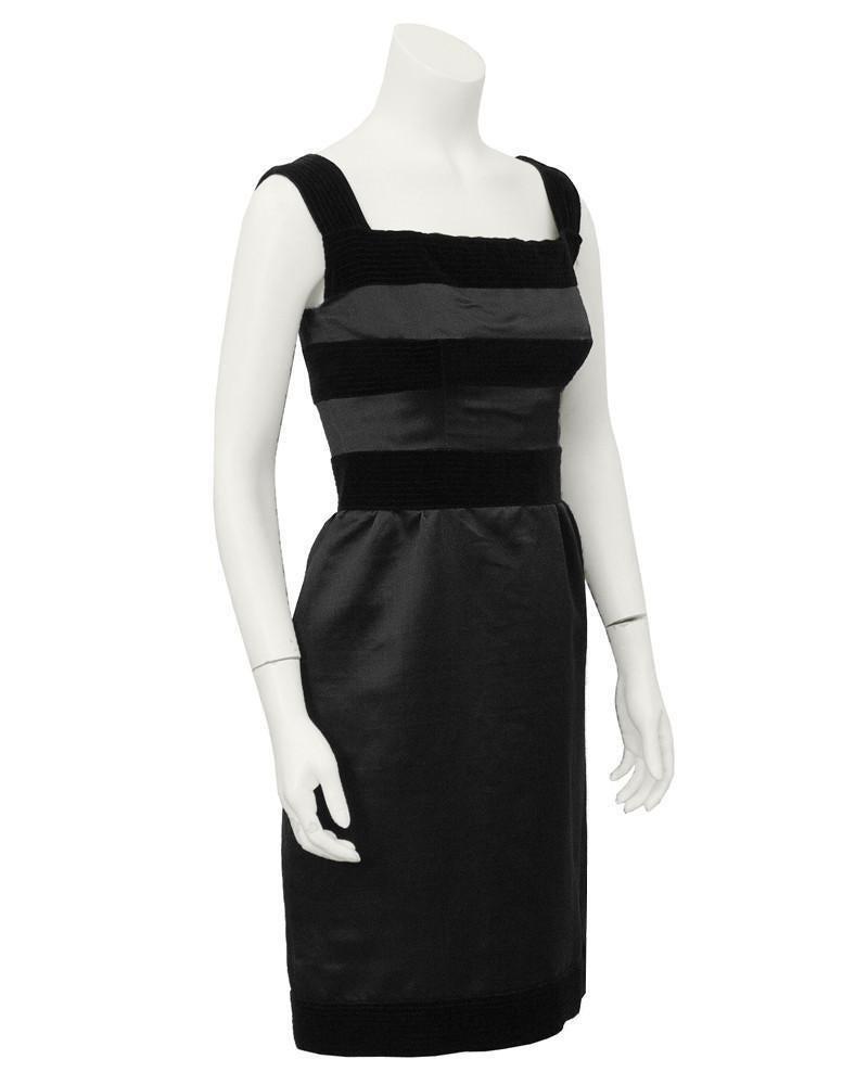 Louis Féraud Black Silk and Velvet Cocktail Dress
