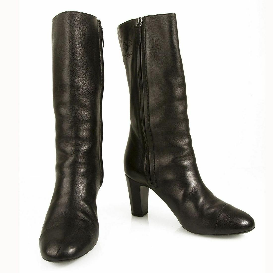 Chanel Black Leather calf height round cap toe boots