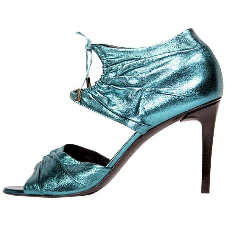 S/S 2004 Tom Ford for Gucci Teal lamé leather high heel