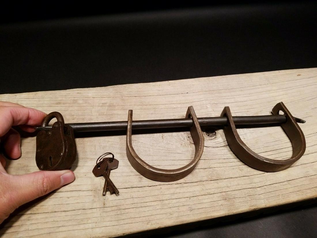 Wrought Iron Handmade Handcuffs Shackles w padlock