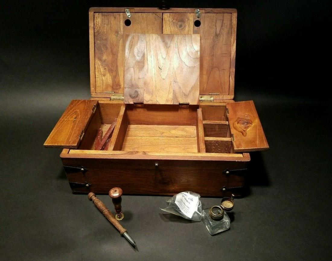 Wood Writing Box Set w Inkwell, Ink, Wax Stamp, & Dip