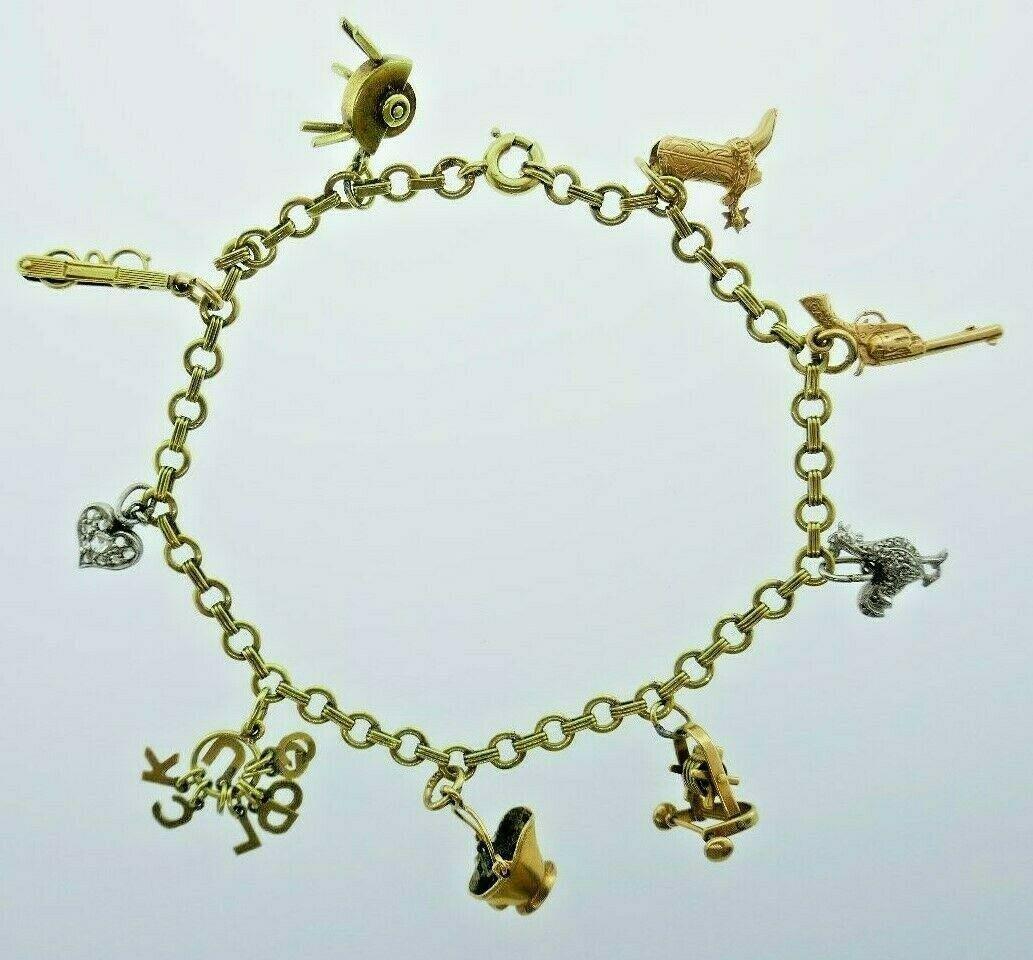 VINTAGE 14k Yellow, Platinum & Diamond Charm Bracelet