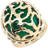 14 Karat Yellow Gold Oval Green Onyx with Filigree