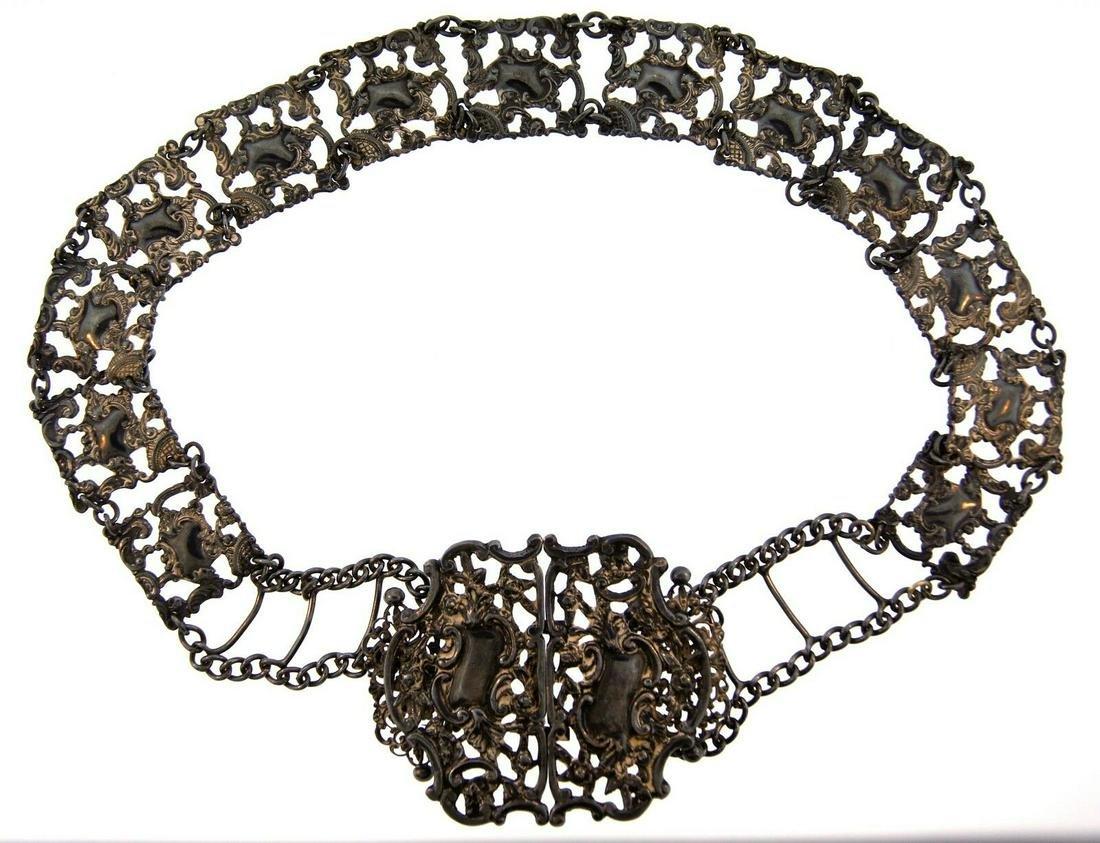 CHIC European Art Nouveau Blackened Silver Belt!