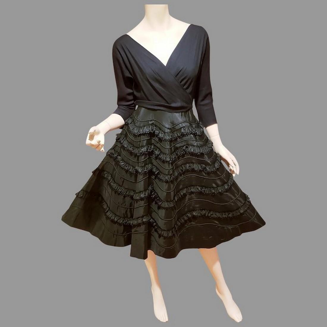 Vtg 1950 black cocktail Full circle dress special
