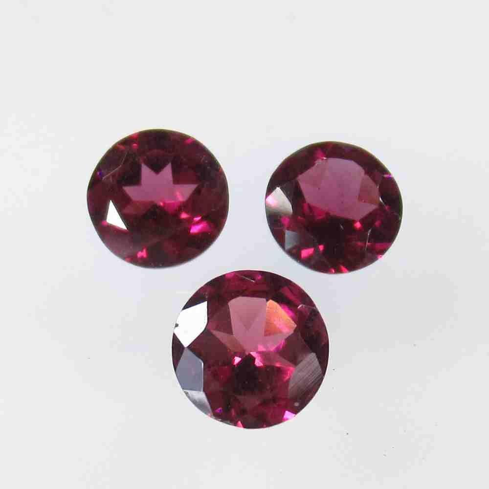 2.51 Ctw Natural 3 Pink Rhodolite Garnet Round Set