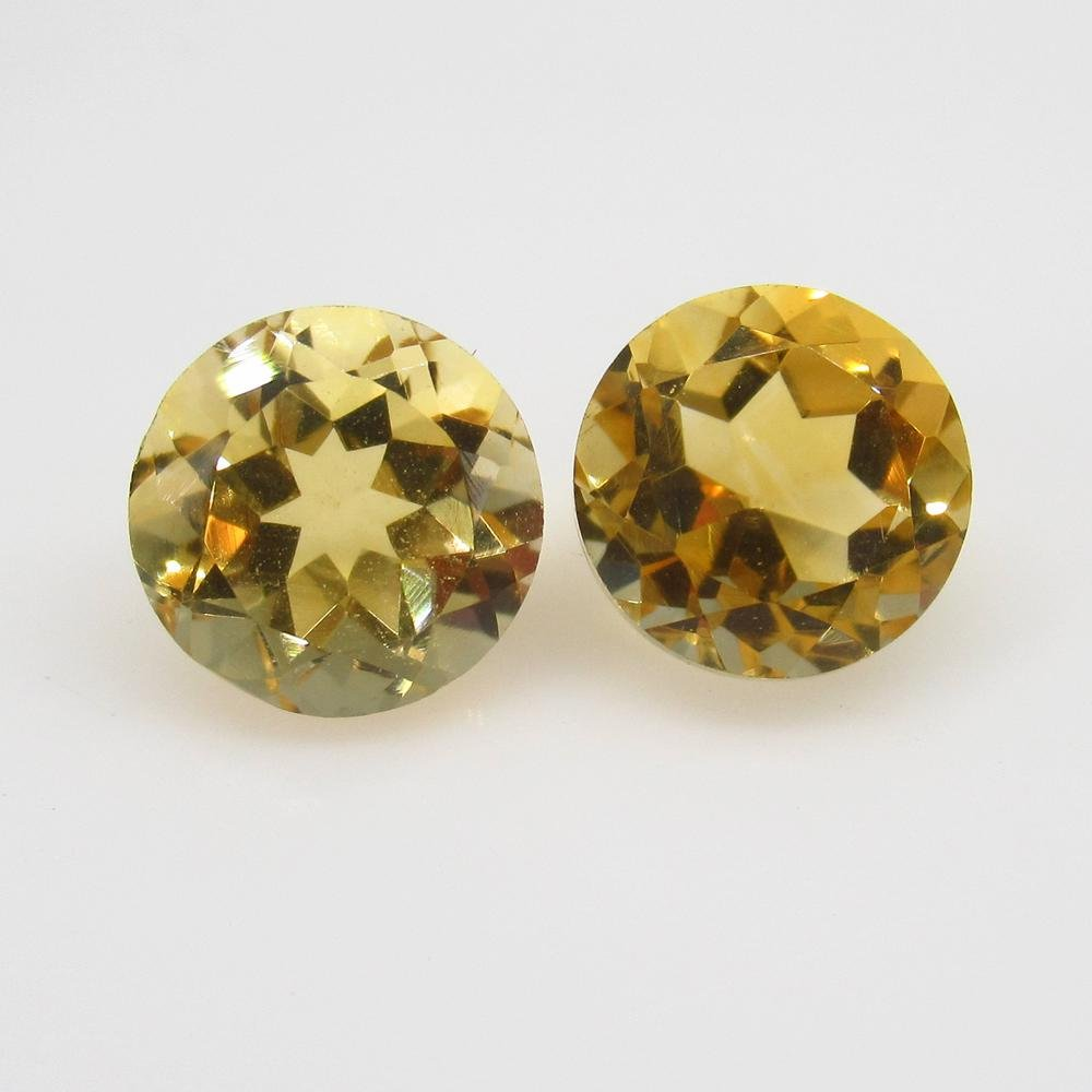 4.39 Ct Natural Orange Yellow Citrine Round Pair