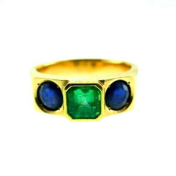 VINTAGE 18k Yellow Gold, Sapphire & Emerald Three Stone