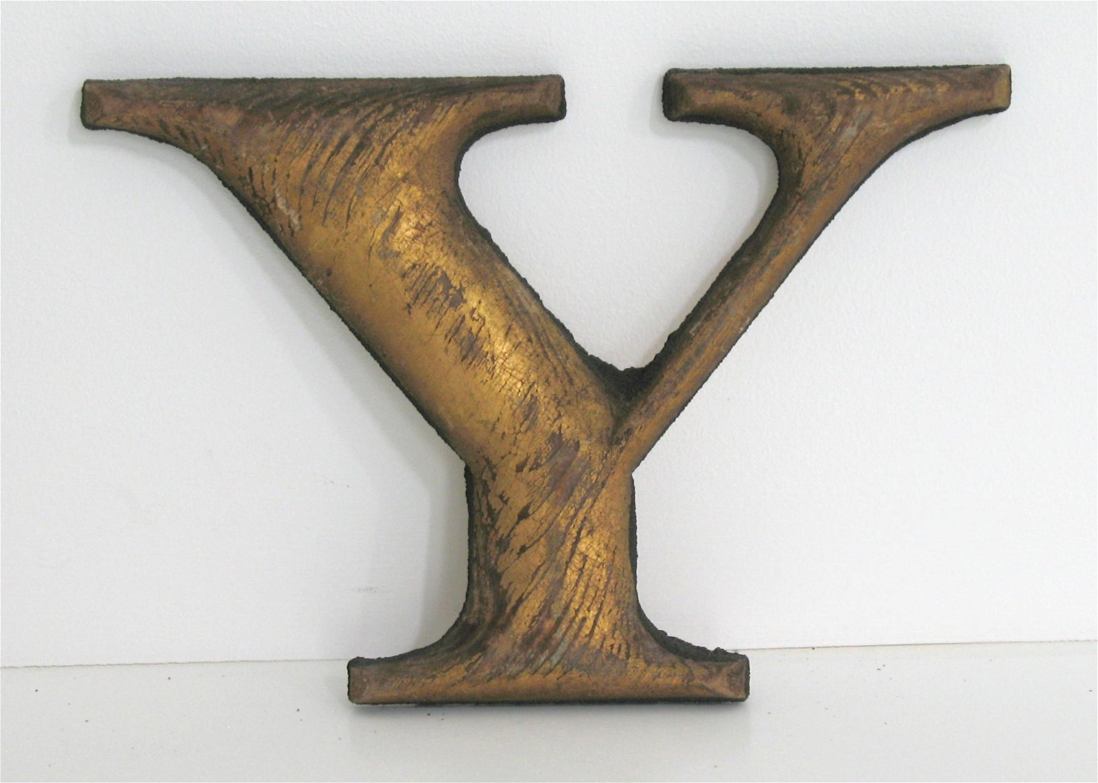 "Early New England wood letter ""Y""."