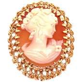 18 Karat Yellow Gold Filigree Design with Woman's