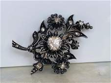 14 kt. Silver, Yellow gold Brooch with 1.30 ct Diamond