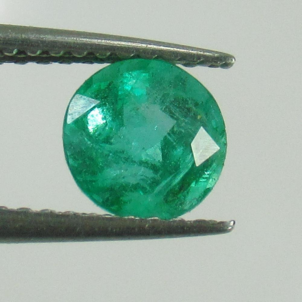0.98 Ct Natural Zambian Emerald Round Cut