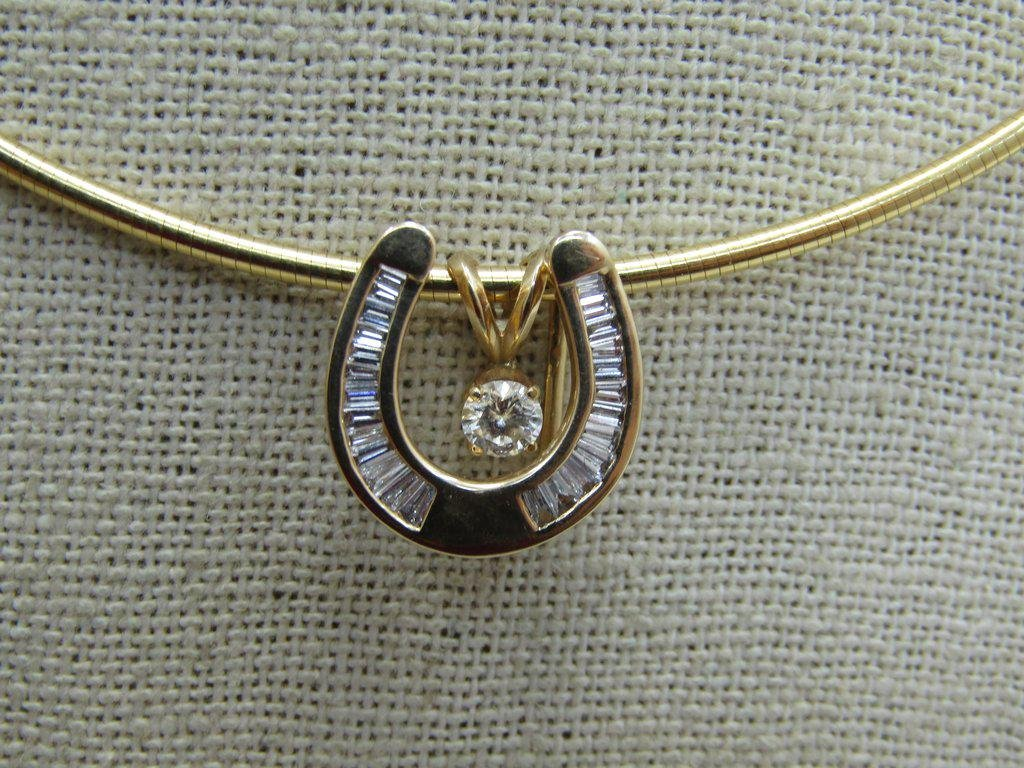 14kt Diamond Horseshoe Necklace Floating Solitaire,