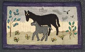 Two Horses Hooked Rug