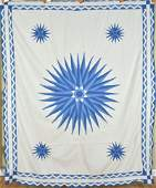 30's Blue & White Mariner's Compass Quilt Top