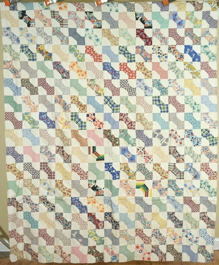 30's Bow Ties Antique Patchwork Quilt Top