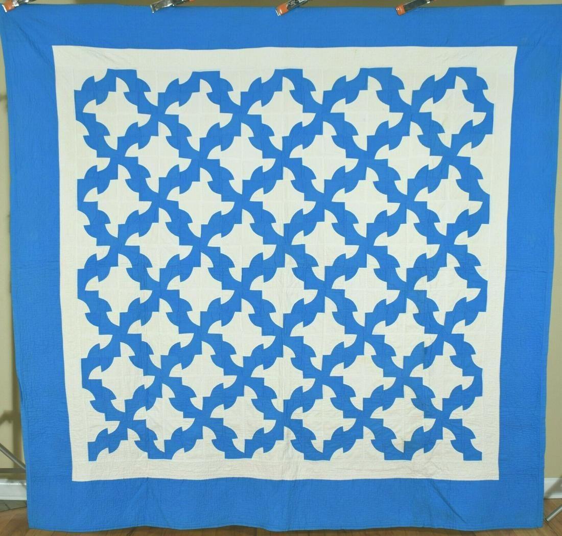 Turquoise Blue & White Drunkard's Path Antique Quilt