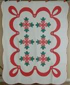 30s Vintage Rose of Sharon Applique Antique Quilt