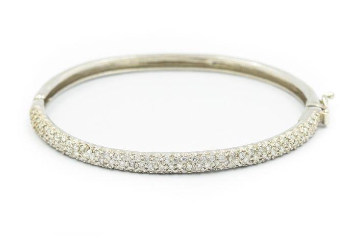 Contemporary White Gold and Diamond Bangle Bracelet