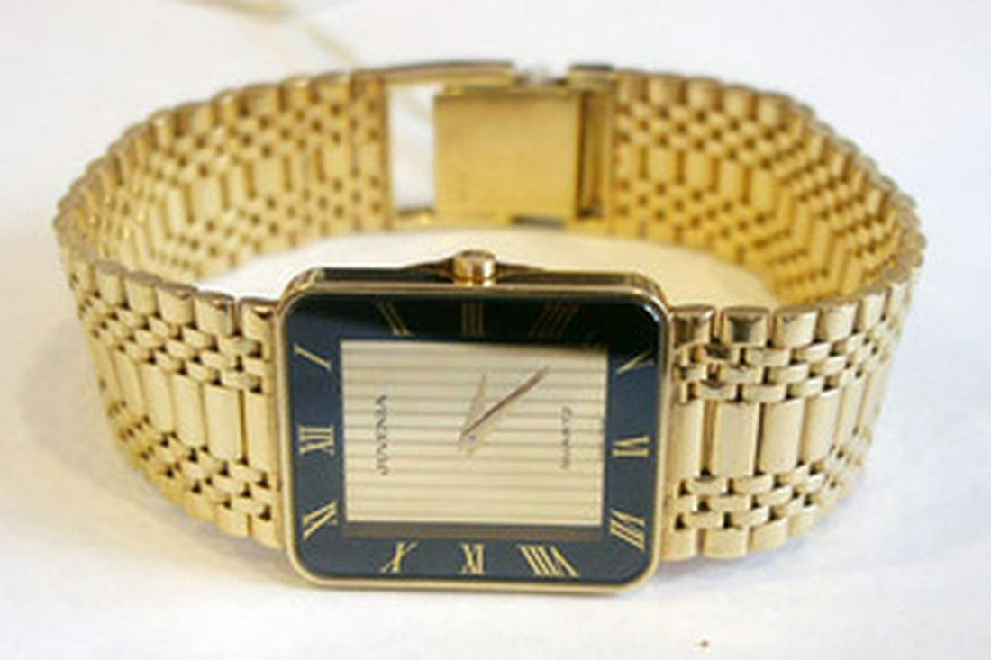 New Solid 18k Yellow Gold JUVENIA Men's watch.Orig Box*