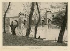 JeanBaptiste Corot etching Le Pont de Mantes