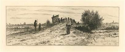 Otto Henry Bacher original etching Auf Staufa Bruck