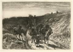 Peter Moran original etching A Burro Train New