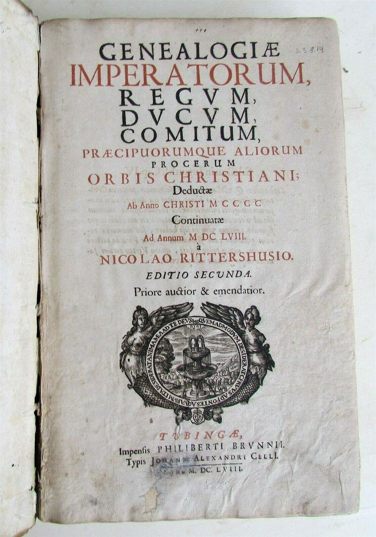 1658 VELLUM FOLIO GENEALOGY TABLES antique GENEALOGIAE