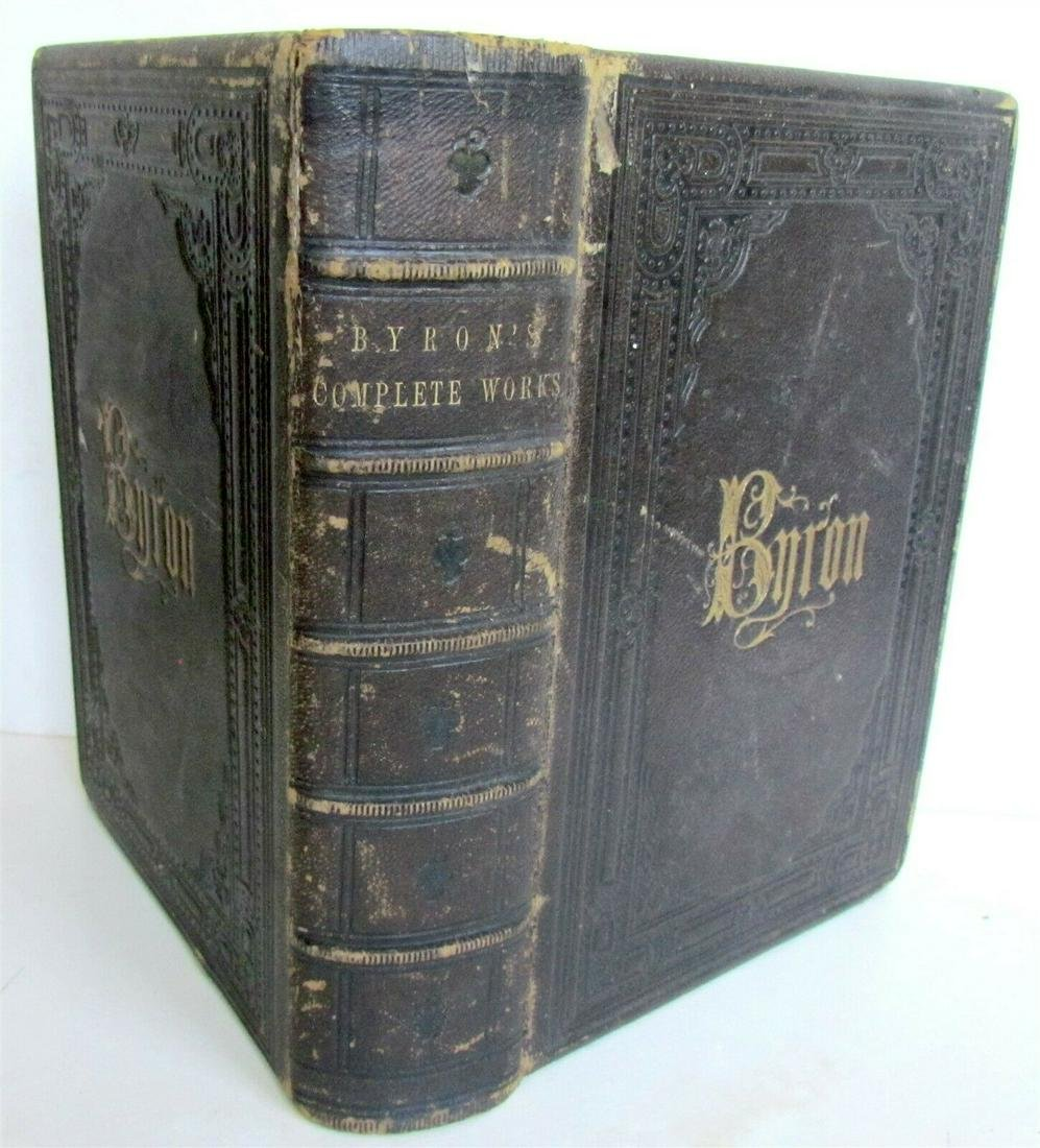 LORD BYRON POETICAL WORKS ILLUSTRATED antique LEATHER