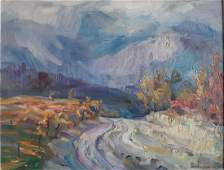 Oil painting Road to the mountains Kovalenko Ivan