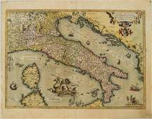 1598 Ortelius Map of Italy -- Italiae Novissima