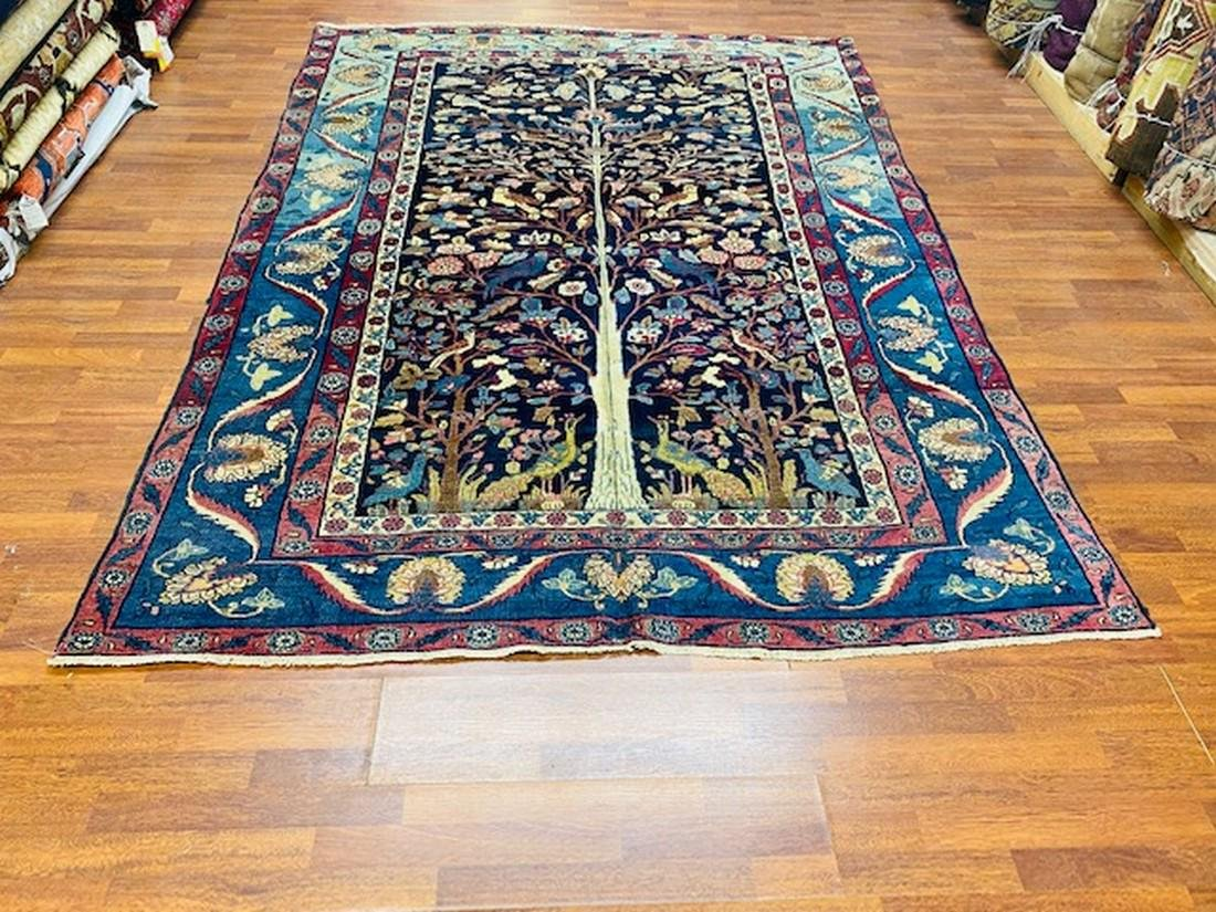 Antique Persian Bird of paradise Khorrasan Rug-2759