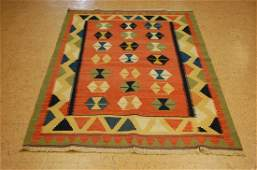 Circa 1950s ANTIQUE CAUCASIAN PRAYER KILIM 4x6 FINELY