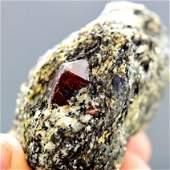 79 Gram Red Zircon Crystal On Matrix From Pakistan -