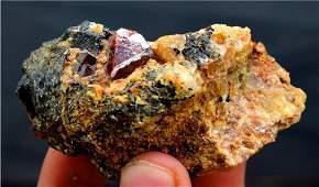 155 Gram Red Zircon Crystal On Matrix From Pakistan -