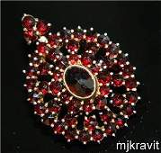 Vermeil 900 Silver Snowflake Rose Cut Bohemian Garnet