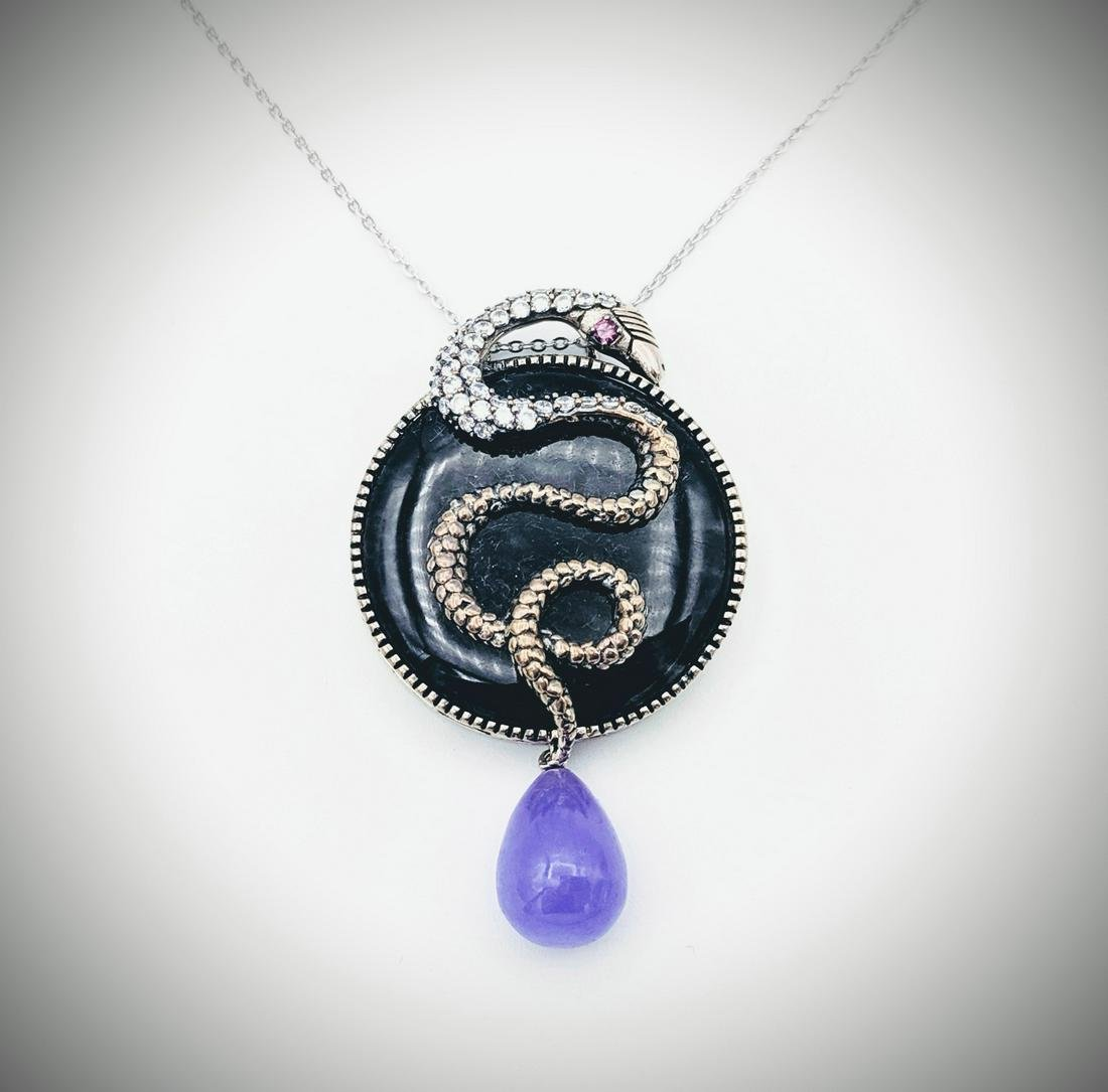 Necklace & Snake Pendant w Nuumite, Pink Amethyst, CZs