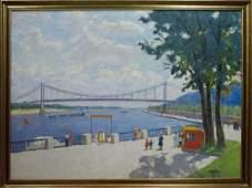 Oil painting Park near the shore