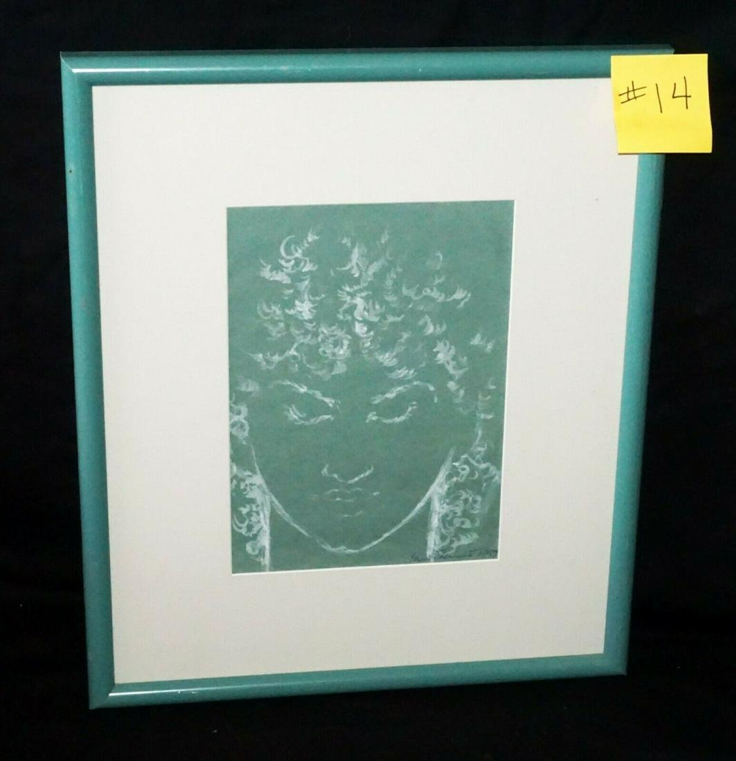 1957 White Ink Painting Hawaiian Woman Madge Tennent