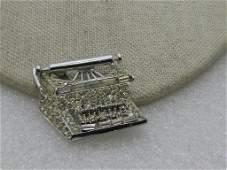 Vintage Pell Rhinestone Typewriter Brooch, Silver Tone,