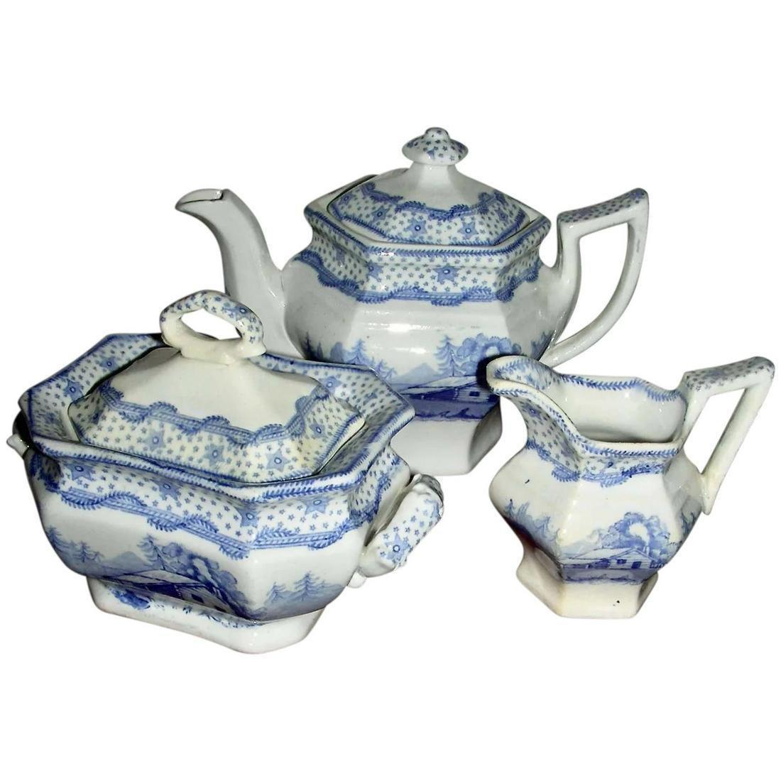 Hist. Staffordshire Child's Tea Set: Columbia Star