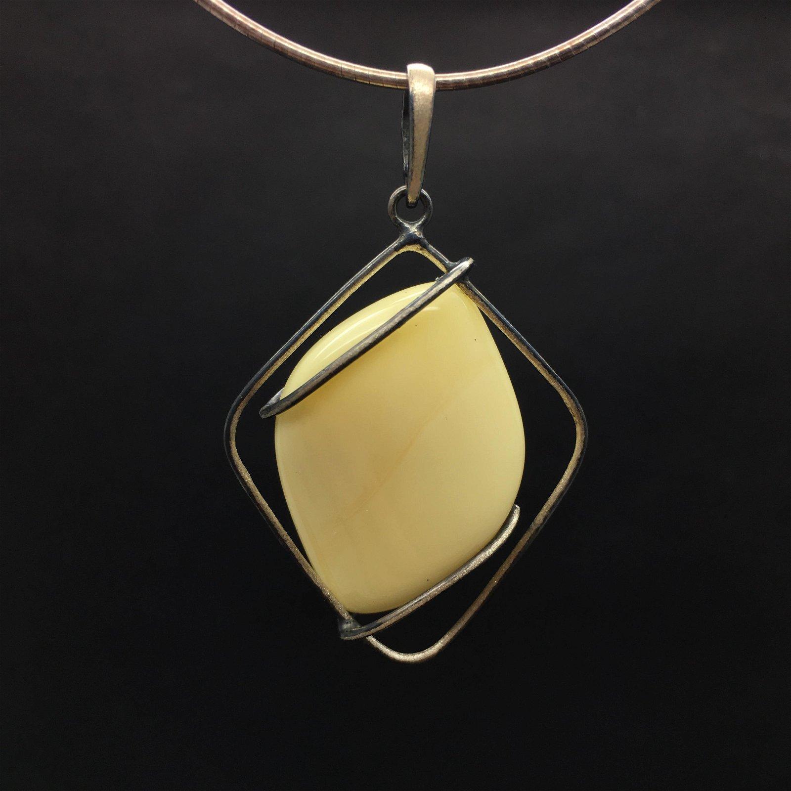 Baltic amber set pendant&ring white color rare stones