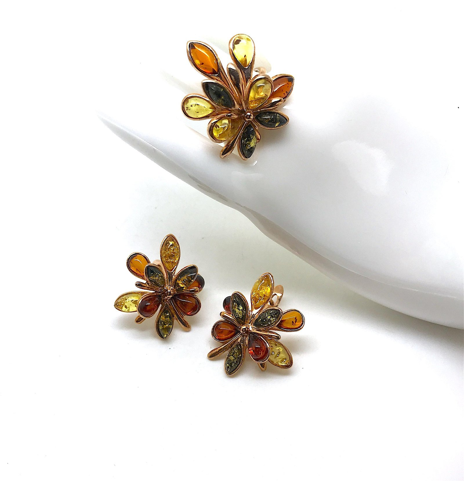 Beautiful Vintage Amber Earrings and Ring set