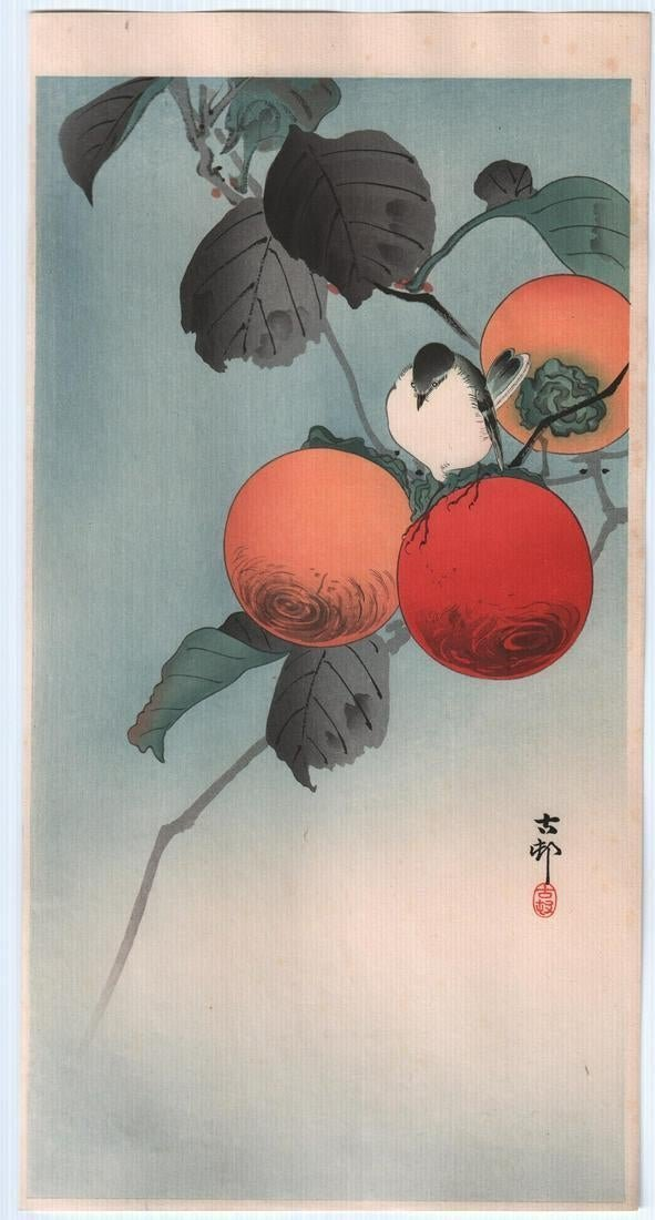 Ohara Koson: Nuthatch with Persimmon