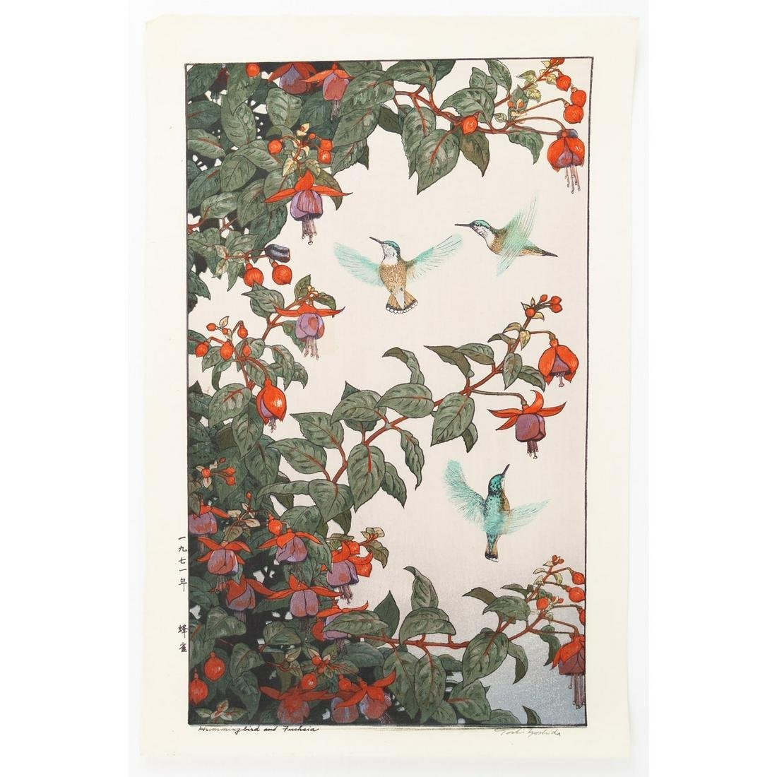 Toshi Yoshida, Hummingbird and Fuchsia, Bird and Flower