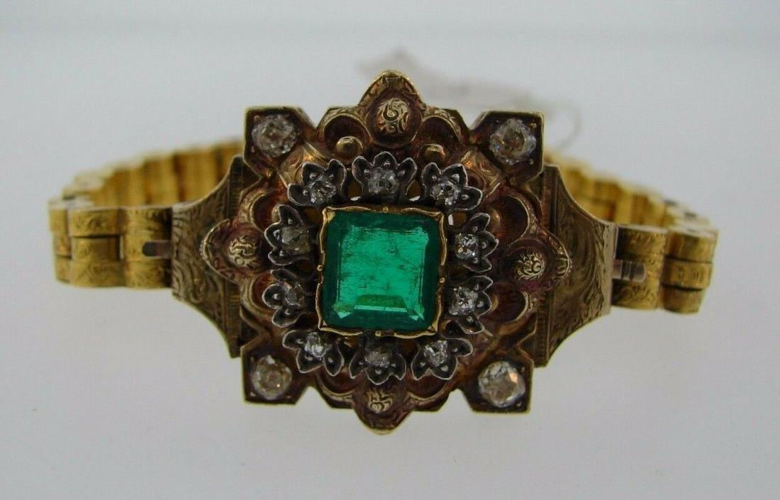 VICTORIAN 18k Yellow Gold, Diamond & Emerald Bracelet